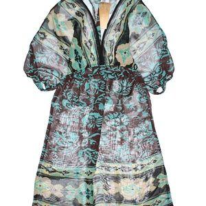 Myan Swim - Myan Blue on Brown w/Black Print Swimsuit Cover Up